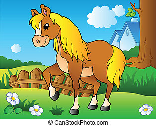 Cartoon horse on spring meadow - vector illustration.