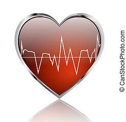 Heart beat - Shiny and glossy heart with heart beat signal
