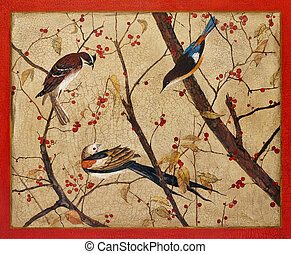 Painting. Colorful birds on branches with red berries -...