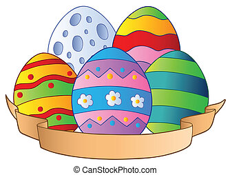 Easter eggs with banner - vector illustration.