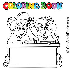 Coloring book with two pupils - vector illustration.