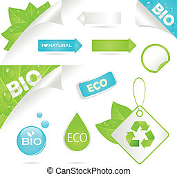 ecology labels and bio icons