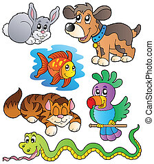 Happy pets collection 1 - vector illustration