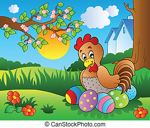 Meadow with hen and Easter eggs - vector illustration.