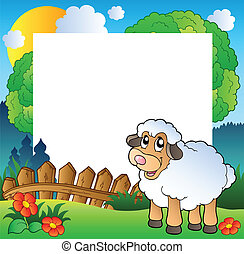 Easter frame with sheep on meadow - vector illustration