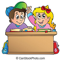 Two children at school desk - vector illustration.