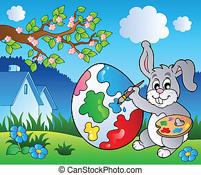 Spring meadow with bunny artist - vector illustration