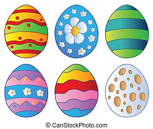 Various Easter eggs - vector illustration.