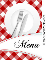 Menu Card Design - Red Gingham Texture With Plate, Cutlery...