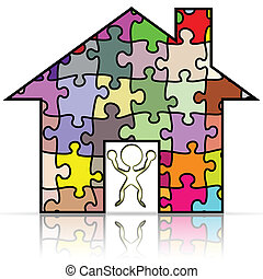 My house puzzle - Illustration of my house puzzle on a white...