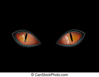 Cat Eyes - Black Cats red eyes in dark night