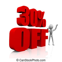 Sale promotion text 30 percent off - 3D rendering of a 30...