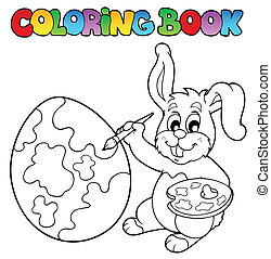 Coloring book with bunny artist - vector illustration
