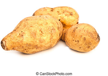 Potatos close up group shot isolated on white