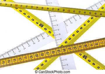 tape measures intercross on white background