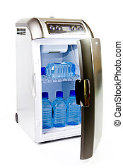 traveling automobile refrigerator with bottles of water