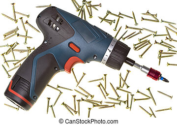 Drill-screwdriver electric storage and screws on white...