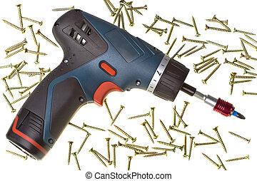 Elettrico, drill-screwdriver, magazzino, fondo, viti, bianco...
