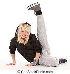 Fun pose by street dancer girl - Beautiful, happy young...