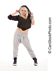 Young urban dancer with hood - Beautiful young blonde female...