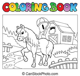 Coloring book with farm and horse - vector illustration