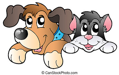 Cute lurking pets - vector illustration.