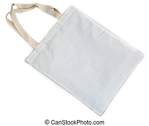 white cotton bag - White cotton bag on white isolated...