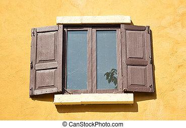 Vintage Wood Windows - Artistic old opened wood windows...