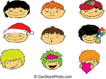 Expressions of boys face, vector