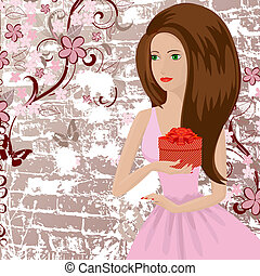 girl on a grunge background with a gift