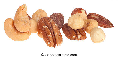 Mixed Nuts - This is a closeup of mixed nuts isolated on...