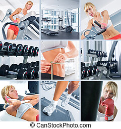 in gym - Healthy lifestyle theme collage composed of...