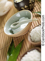 spa theme - Close up view of spa theme objects on natural...