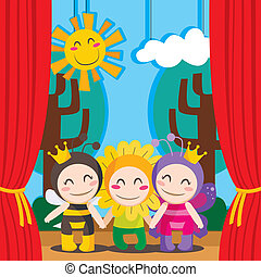 Cute Theater - Three children in costumes performing a...