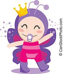Baby Butterfly - Cute sweet baby girl wearing queen...