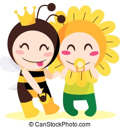 Queen Bee Wants Flower - Children with queen bee and flower...