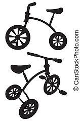 crianças, triciclo