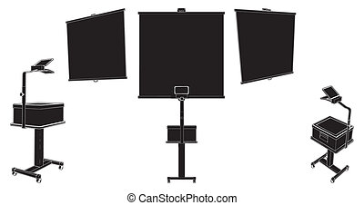 Projection Screen With Overhead Projector Vector