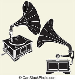 Antique Gramophone Vector