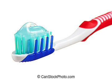toothbrush with toothpaste isolated on a white  background