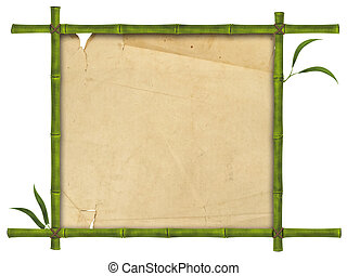 bamboo frame - illustration of bamboo frame with leaves and...