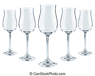 goblets - five modern goblets over the white background