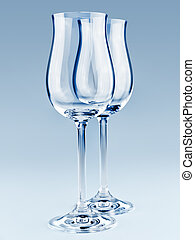 goblets - two modern goblets over the blue background