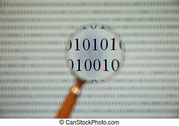 binary code - binary code seen by magnifying glass