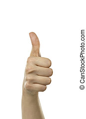 Thumbs up - A females hand giving the thumbs up sign