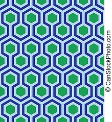 seamless cube print in blue green - green hexagons framed by...