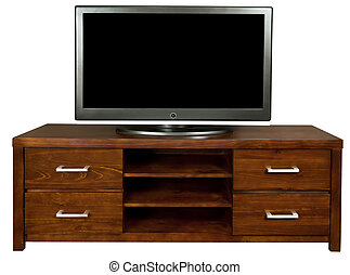 TV Cabinet - A classic brown wooden TV cabinet with a large...