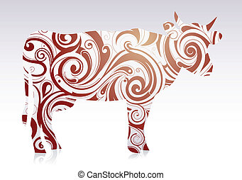 Artistic cow - Cow figure shaped with ornament swirls