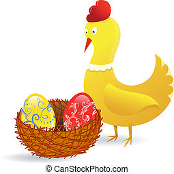 Easter chick - Chicken with Easter eggs in the nest