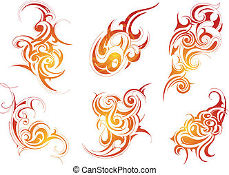 Tribal art - Set of six origianal shapes created in tribal...